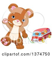 Clipart Of A Cute Bear Cub Walking Upright Waving And Pulling A Toy Car With Animals Royalty Free Vector Illustration