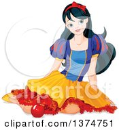 Princess Snow White Sitting On The Ground With An Apple