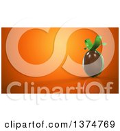 Clipart Of A 3d Chocolate Easter Egg With A Bow Over An Orange Background Royalty Free Illustration