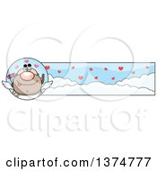 Clipart Of A Male Valentines Day Cupid Banner Royalty Free Vector Illustration