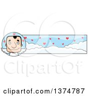 Clipart Of A Block Headed White Man Valentine Cupid Banner Royalty Free Vector Illustration by Cory Thoman