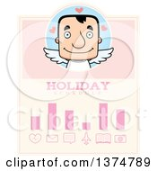 Clipart Of A Block Headed White Man Valentine Cupid Schedule Design Royalty Free Vector Illustration by Cory Thoman