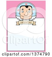 Clipart Of A Block Headed White Man Valentine Cupid Page Border Royalty Free Vector Illustration by Cory Thoman