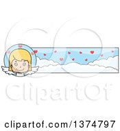 Clipart Of A Happy Blond White Girl Cupid Banner Royalty Free Vector Illustration