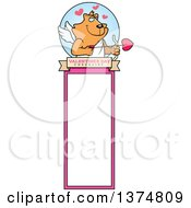 Clipart Of A Valentines Day Cupid Ginger Cat Bookmark Royalty Free Vector Illustration