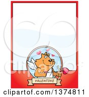 Clipart Of A Valentines Day Cupid Ginger Cat Page Border Royalty Free Vector Illustration