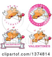 Clipart Of Badges Of A Valentines Day Cupid Ginger Cat Royalty Free Vector Illustration