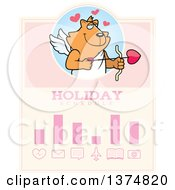 Clipart Of A Valentines Day Cupid Ginger Cat Schedule Design Royalty Free Vector Illustration by Cory Thoman