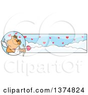 Clipart Of A Valentines Day Cupid Ginger Cat Banner Royalty Free Vector Illustration by Cory Thoman