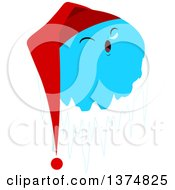 Clipart Of A Frozen Ice Planet Sleeping And Wearing A Night Cap Royalty Free Vector Illustration