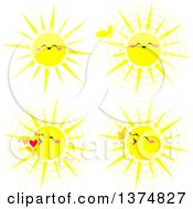 Clipart Of Cheerful Sun Faces Royalty Free Vector Illustration