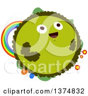 Clipart Of A Happy Green Planet With Flowers A Rainbow And Creatures Royalty Free Vector Illustration