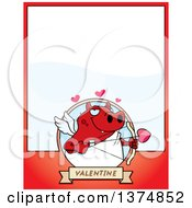 Clipart Of A Valentines Day Cupid Devil Page Border Royalty Free Vector Illustration by Cory Thoman