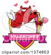 Clipart Of A Valentines Day Cupid Devil Shield Royalty Free Vector Illustration by Cory Thoman