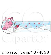 Clipart Of A Valentines Day Cupid Rabbit Banner Royalty Free Vector Illustration