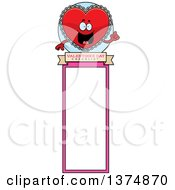 Clipart Of A Happy Red Doily Valentine Heart Mascot Bookmark Royalty Free Vector Illustration