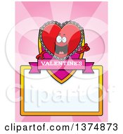 Clipart Of A Happy Red Doily Valentine Heart Mascot Page Border Royalty Free Vector Illustration