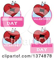 Badges Of A Happy Valentines Day Heart Character