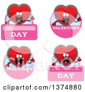 Clipart Of Badges Of A Happy Red Doily Valentine Heart Mascot Royalty Free Vector Illustration