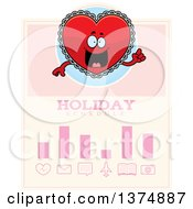 Clipart Of A Happy Red Doily Valentine Heart Mascot Schedule Design Royalty Free Vector Illustration