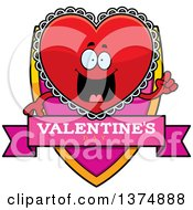 Clipart Of A Happy Red Doily Valentine Heart Mascot Shield Royalty Free Vector Illustration by Cory Thoman