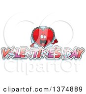Clipart Of A Happy Red Doily Valentine Heart Mascot With Text Royalty Free Vector Illustration by Cory Thoman