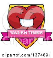 Clipart Of A Happy Valentine Heart Character Shield Royalty Free Vector Illustration by Cory Thoman