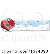 Clipart Of A Happy Valentines Day Heart Character Banner Royalty Free Vector Illustration by Cory Thoman