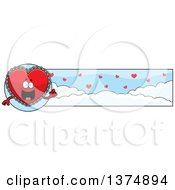 Clipart Of A Happy Red Doily Valentine Heart Mascot Banner Royalty Free Vector Illustration by Cory Thoman