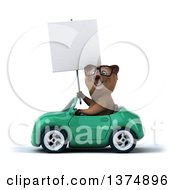 Clipart Of A 3d Bespectacled Brown Bear Driving A Pink Convertible Car On A White Background Royalty Free Illustration