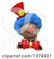 Clipart Of A 3d Brown Bear Clown Giving A Thumb Up Over A Sign On A White Background Royalty Free Illustration by Julos