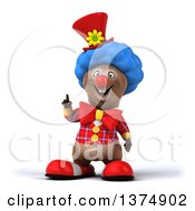 Clipart Of A 3d Brown Bear Clown Holding Up A Finger On A White Background Royalty Free Illustration by Julos