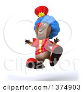 Clipart Of A 3d Brown Bear Clown Jumping On A White Background Royalty Free Illustration by Julos