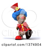 Clipart Of A 3d Brown Bear Clown Walking On A White Background Royalty Free Illustration by Julos