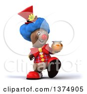 Clipart Of A 3d Brown Bear Clown Walking With Honey On A White Background Royalty Free Illustration by Julos