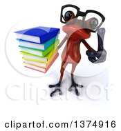 Clipart Of A 3d Bespectacled Red Frog Holding A Stack Of Books On A White Background Royalty Free Illustration
