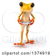 Clipart Of A 3d Yellow Frog Reading A Book On A White Background Royalty Free Illustration