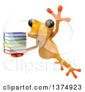 Clipart Of A 3d Yellow Frog Holding A Stack Of Books On A White Background Royalty Free Illustration