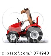 Clipart Of A 3d Brown Horse Operating A Tractor On A White Background Royalty Free Illustration