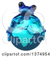 Clipart Of A 3d Blue Frog Hugging Planet Earth On A White Background Royalty Free Illustration