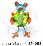 Clipart Of A 3d Turquoise Frog Holding Up A Globe On A White Background Royalty Free Illustration by Julos