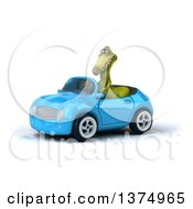 3d Dinosaur Driving A Convertible Car On A White Background