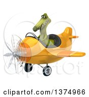 3d Dinosaur Aviator Pilot Flying A Yellow Airplane On A White Background
