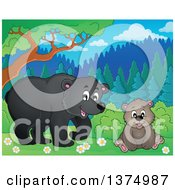 Clipart Of A Black Bear And Cub In The Woods Royalty Free Vector Illustration