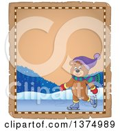 Clipart Of A Happy Bear Ice Skating On A Parchment Page Border Royalty Free Vector Illustration