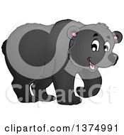 Clipart Of A Happy Black Bear Walking Royalty Free Vector Illustration
