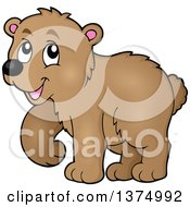 Clipart Of A Walking Brown Bear Royalty Free Vector Illustration