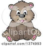 Clipart Of A Sitting Brown Bear Royalty Free Vector Illustration