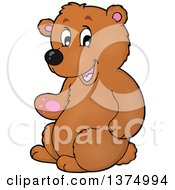 Clipart Of A Presenting Brown Bear Royalty Free Vector Illustration by visekart