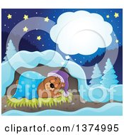 Clipart Of A Cartoon Cute Brown Bear Dreaming With A Blanket And Night Cap In A Cave Royalty Free Vector Illustration